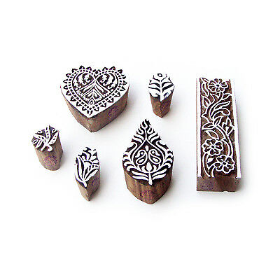 Leaf and Heart Asian Pattern Wood Block Print Stamps (Set of 6)