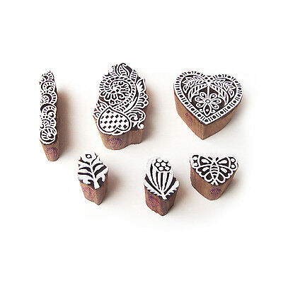 Heart and Butterfly Ethnic Motif Wood Block Stamps (Set of 6)