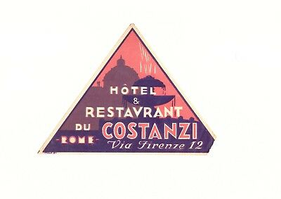 Hotel & Restaurant du Rome Costanzi Italy Luggage Label
