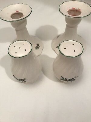 Nikko Classic Christmastime Candleholders And Salt And Pepper Shakers EUC
