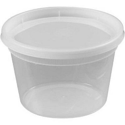Plastic Deli Food Soup Container with Lids Round - 24 Count - BPA Free