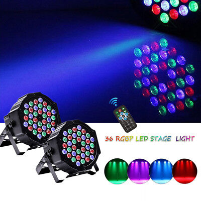 2PCS LED Par64 RGB DMX 36 LED Par Can Stage Wash DJ Party Disco Lighting +Remote