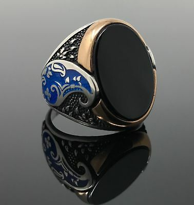 Elegant Handcraft Turkish 925 Sterling Silver Jewelry Onyx  Gemstone Men's Ring