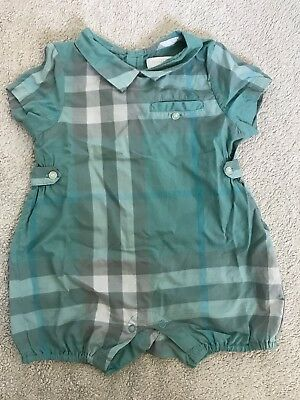 Baby Burberry Unisex Green Checked One Piece Size 6 Months