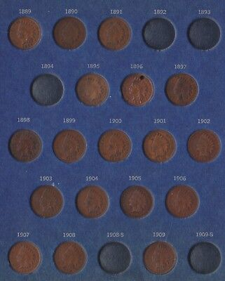 Partial Indian Head Cent Set Collection 21 coins 1880 - 1909