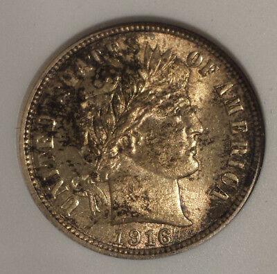 1916 Barber Dime ANACS Certified Uncirculated MS63