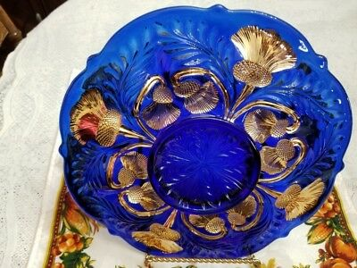 Cobalt Blue Egg Plate Decorated Handpainted Gold American Made  Retired Mosser