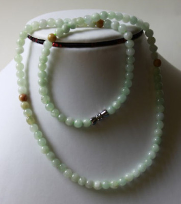 Untreated ** 100% Natural Beautiful A Grade JADE Beads Necklace, 20 Inches 001
