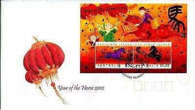 Christmas Island 2002 Year of the Horse MS FDC