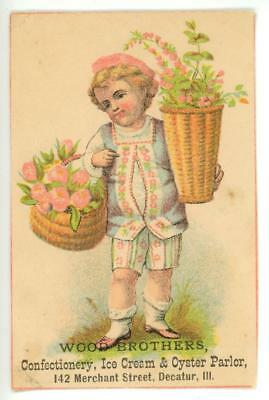 Wood Brothers Confection Ice Cream Oyster Parlor Decatur IL Victorian Trade Card