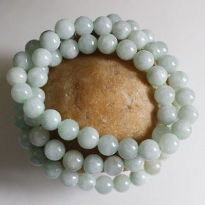 8mm  -Certified Natural Untreated Light Green Jadeite Jade Round Beads Necklace