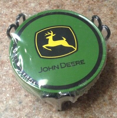 John deere metal cork backed  coasters set of 6 with holder