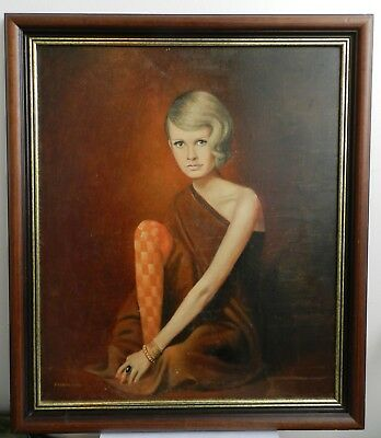 Original Oil Painting Portrait on Board 1968 - Young Woman Girl Twiggy?
