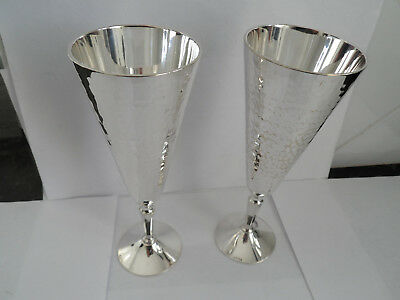 Vintage Silver Plate Arts & Crafts Beaten Design Pair Prosecco Champagne Flutes