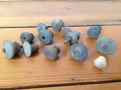 Lot of 13 Antique Vintage Victorian Round Domed Wood Knob Cabinet Drawer Pulls