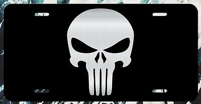 Punisher Skull License Plate Tag Vanity Front Aluminum 6 Inches By 12 Inches