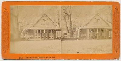 YOSEMITE SV - Bath House in Valley - Continent Stereo Co 1870s