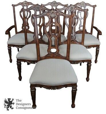6 Traditional French Rococo Chippendale Style Carved Mahogany Dining Room Chairs