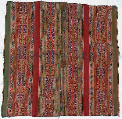 Vintage Bolivian Ceremonial Awayo Shawl Mantle Handwoven Wool Andean Textile