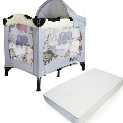 iSafe Mini Travel Cot With Bassinet And Canopy - Smiley And Cuddly 81 x 56 x 84
