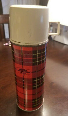 Vintage Red Plaid Thermos Metal King Seeley 1973 #2242