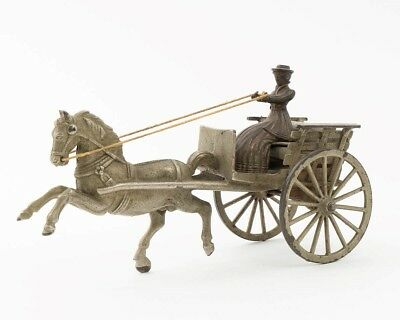 Antique Wilkins Toy Cast Iron Pressed Steel Horse Drawn Carriage Cart Lady Rider