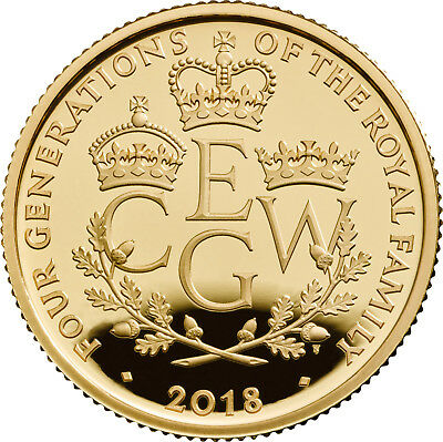 1/4 Oz Gold Proof The Four Generations of Royalty 25 £ Pfund United Kingdom 2018
