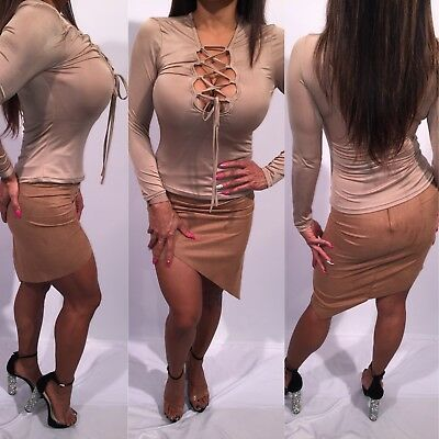 Connie's Cute Used Set Tan Faux Suede Skirt and Semi Sheer Top    Both Size  S