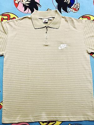 Vintage 90's OG Nike Collared Polo Shirt Stripes Swoosh Large Zipper *VERY RARE*