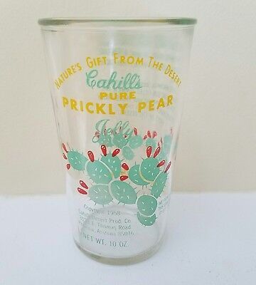Vintage 1958 Glass Jelly Jar Cahill's Arizona Desert Prickly Pear Cactus