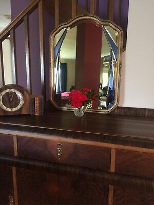 1934 Golden Ray Mirror ART DECO Vintage 83 years old BEVELLED  1930 's
