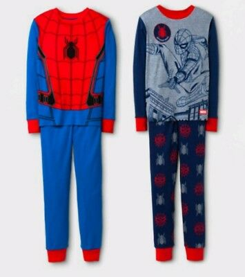 MARVEL Spider-Man Boys Lot of Two 2-pc Pajama Sets - Red & Blue - Size 4 - NWT