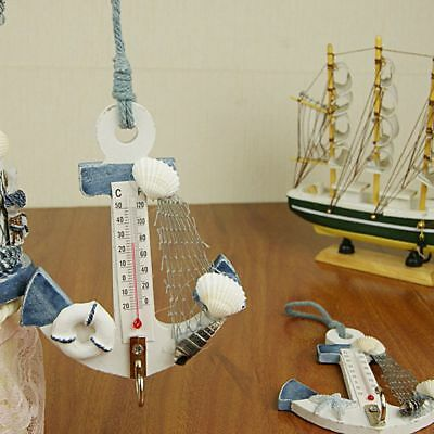 Wood Door Wall Boat Anchor Shaped Home Decor Conch Thermometer Nautical Hanger
