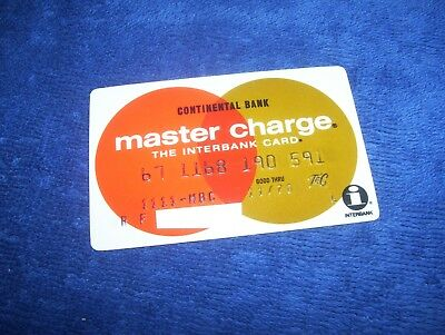 Vintage 1970 Master Charge Credit Card Continental Bank Chicago Town & Country