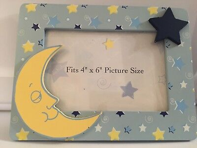 Silver Lining Moon and Stars Picture Frame Baby Nursery Room Decor
