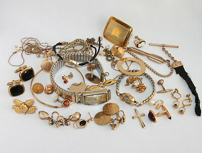 Vintage and Antique Gold Filled Scrap Recovery Jewelry Accessories Lot 184 grams