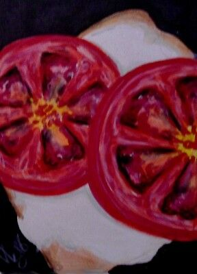 """Aceo  Original  ATC  """" TOMATOES ON TOAST     """"    pencil / ink"""