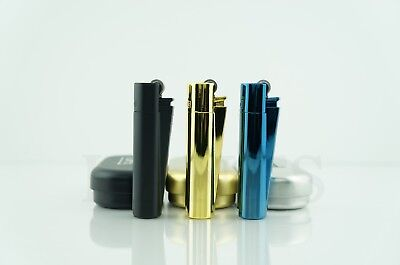 3x Full Size Refillable Adjustable Flame Metal Clipper Lighter With Gift Box!