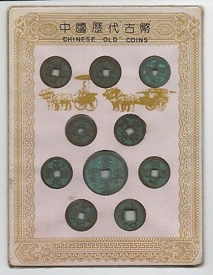 Mounted Group of 10 Antique Chinese Coins from Beijing