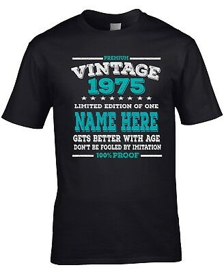 Men's Personalised 43rd Birthday T-Shirt 1975 Add name and change year if needed
