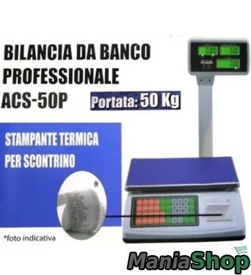 Bilancia Professionale Da Banco Digitale Max 50Kg 5 Gr Con Display Con Scontrino