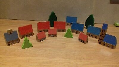 Wooden Toy...vintage..?..little Wood Houses..village..toddler..wooden Houses