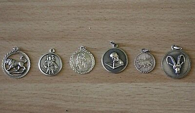 Vintage Genuine Real 925 Sterling  Silver Six Pendants
