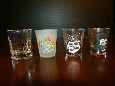 Shot Glasses - Four - Jack Daniels, Puerto Rico, and Two with Faces and Sayings