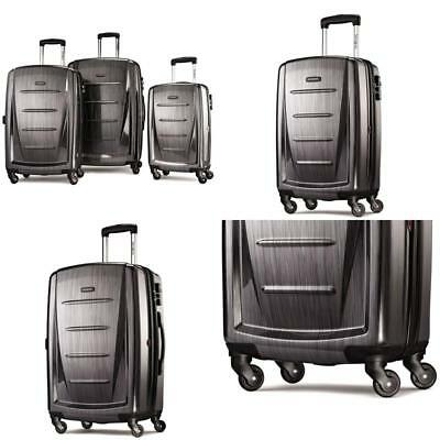 Winfield Hardside Luggage Set Charcoal  Spinner Fashion Travelers Color Lock New