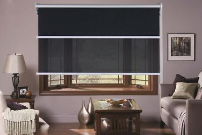 Dual Day/Night double Roller Blinds Fits 60-180cm x 210cm Drop Black and White