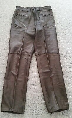 Lou Myles beautiful bespoke mens vintage brown leather pants made in Italy