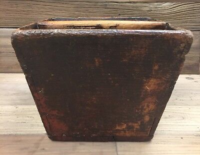 Large Antique Traditional Chinese Wood Square Rice Bucket With Handle