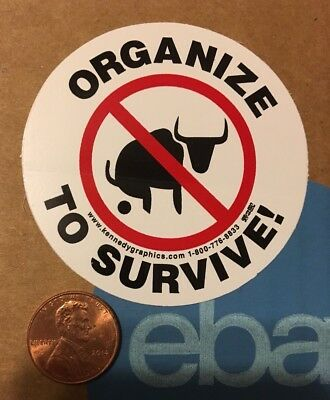 No Bullshit Organize To Survive Labor Union Hard Hat Sticker Decal Funny