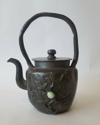 A 19th Century Chinese pewter kettle inset with agate & jade